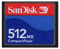 SanDisk SDCFJ-512 512MB 50p CF CompactFlash Card Red and Blue Bulk w/ SN RFB
