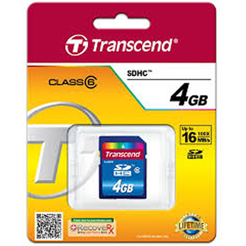 Transcend TS4GSDHC6 4GB 9P SDHC Secure Digital Card High Capacity Class 6 Up to 12MB/S Retail