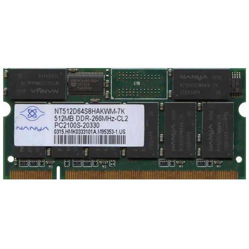 512MB 200p PC2100 CL2 16c 32x8 DDR SODIMM T005 RFB U.S
