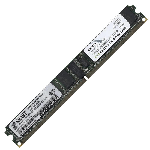 Micron/Smart SG572644FG8E6DB1 512MB 240p PC2-3200 CL3 18c 64x4 Registered ECC DDR2-400 DIMM VLP T008