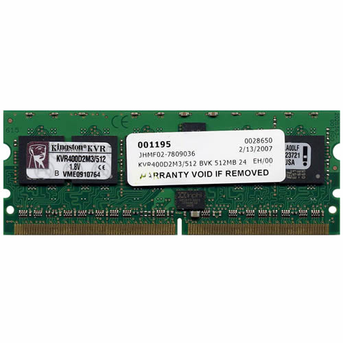 Kingston KVR400D2M3/512 512MB 244p PC2-3200 CL3 9c 64x8 Registered ECC DDR2-400 MiniDIMM
