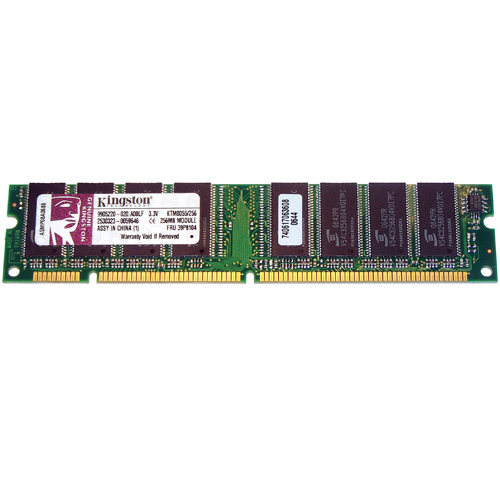 Kingston KTM0055/256 256MB 168p PC133 CL3 8c 32x8 SDRAM DIMM T018-RFB