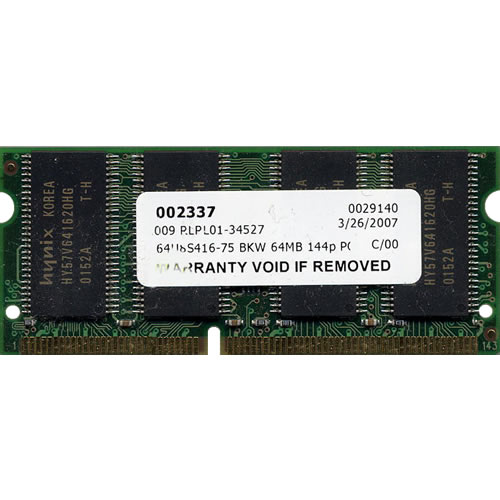 64MB 144p PC133 CL3 8c 4x16 SDRAM SODIMM
