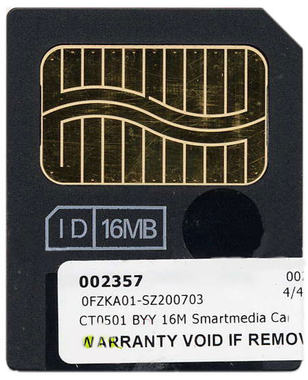 Samsung CT0501 16MB SmartMedia SSFDC card Bulk  in Sleeve with label and silver dot