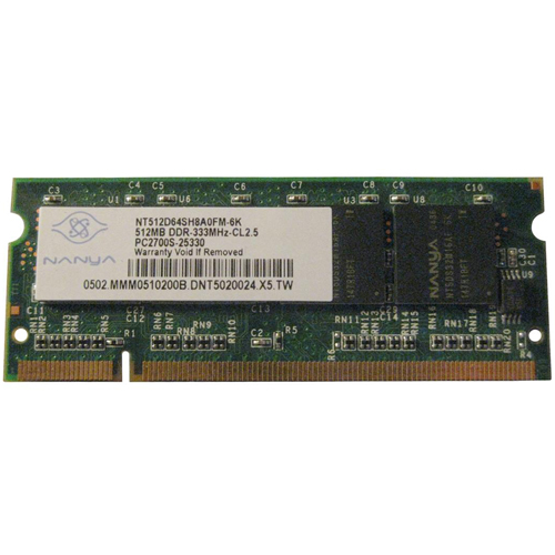 Nanya NT512D64SH8A0FM-6K 512MB 200p PC2700 CL2.5 8c 32x16 DDR333 2Rx16 2.5V SODIMM RFB W/3rd party l
