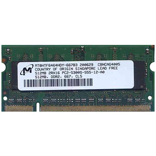 512MB 200p PC2-5300 CL5 8c 32x16 DDR2-667 SODIMM T004-RFB