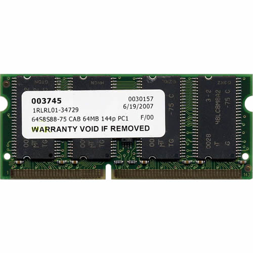 64MB 144p PC133 CL3 8c 8x8 SDRAM SODIMM