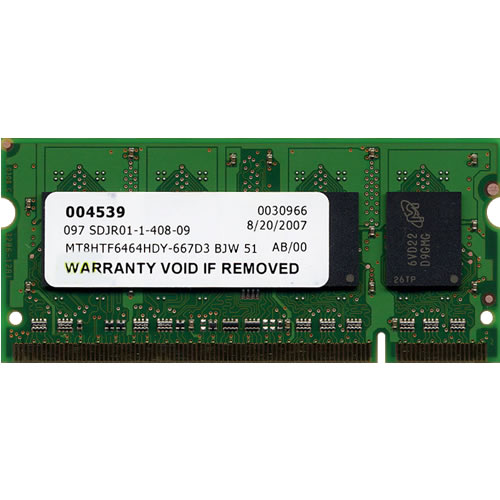 Micron MT8HTF6464HDY-667D3 BJW 512MB 200p PC2-5300 CL5 8c 32x16 DDR2-667 2Rx16 1.8V SODIMM RFB w/ wh
