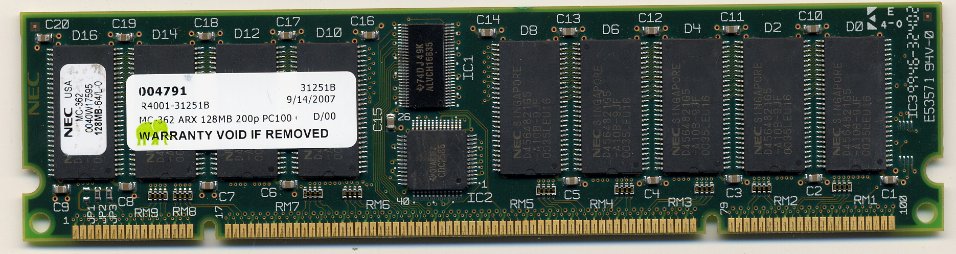 NEC MC-362 ARX 128MB 200p PC100 CL3 18c 8x8 Registered ECC SDRAM DIMM MEM-VIP250-128M-D
