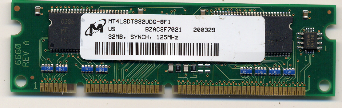 Micron MT4LSDT832UDG-8F1 32MB 100p PC100 CL2 4c 4x16 SDRAM 3.3V SODIMM Cisco