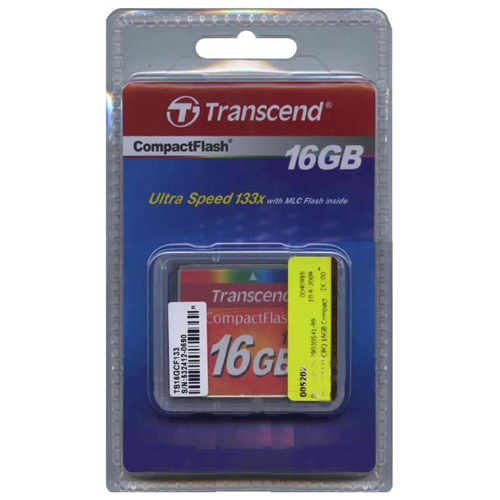 Transcend TS16GCF133 CIB 16GB 50p CF 50MB/s 133x Transcend Compact Flash Card with Clam Retail