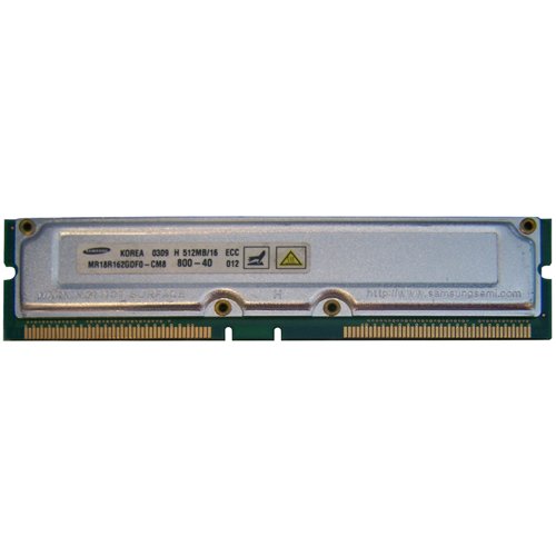 Samsung MR18R162GDF0-CM8 512MB 184p PC800-40 16d ECC RDRAM RIMM w/ HP Label RFB