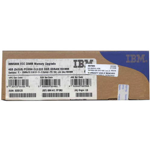 IBM 39M5806-NIB 2AFZ 4GB 2 pcs.2GB 184p PC3200 CL3 36c 128x4 Registered ECC DDR DIMM T027-Retail Box