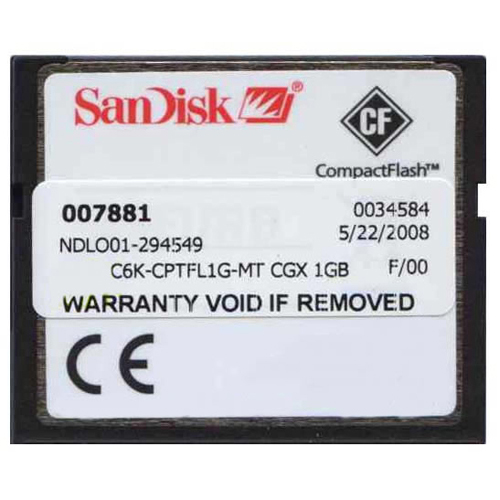Sandisk MEM-C6K-CPTFL1G-MT 1GB CompactFlash Card Cisco 3rd Party