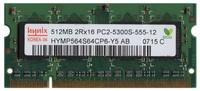 512MB 200p PC2-5300 CL5 8c 32x16 DDR2-667 2Rx16 1.8V SODIMM