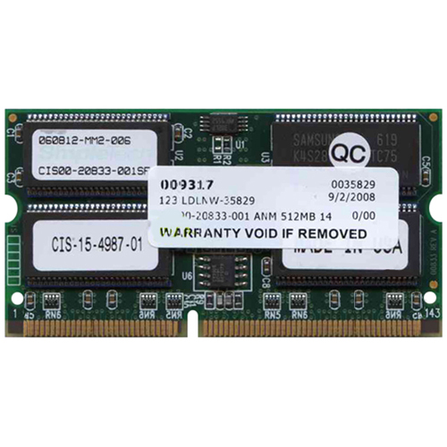 Gigaram CIS00-20833-001 512MB 144p PC100 CL2 18c 64x4 ECC SDRAM SODIMM MSFC2 Cisco Approved