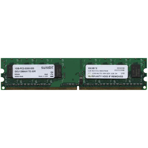 Swissbit GEU12864A1TE-30R 1GB 240p PC2-5300 CL5 8c 128x8 DDR2-667 DIMM NIB U.S