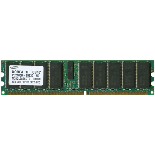 Samsung M312L2828DT0-CB0Q0 ABK 1GB 184p PC2100 CL2.5 36c 64x4 Registered ECC DDR DIMM T027 1.2in RFB