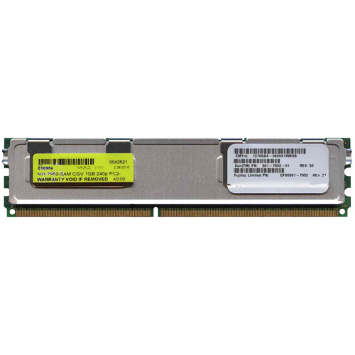 1GB 240p PC2-5300 CL5 18c 64x8 Fully Buffered ECC DDR2-667 FBDIMM Sun Original X4200A SESX2A1Z SESX2