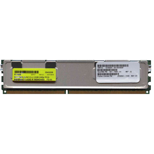 Sun Micro 501-7953-SAM 2GB 240p PC2-5300 CL5 36c 128x4 Fully Buffered ECC DDR2-667 FBDIMM Sun Barcod