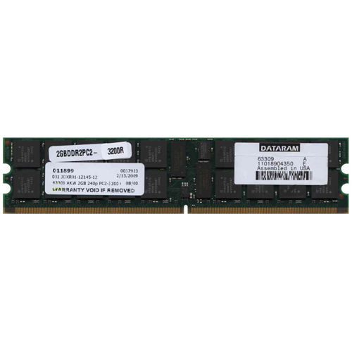 Dataram 63309 AKW 2GB 240p PC2-3200 CL3 36c 128x4 Registered ECC DDR2-400 DIMM NOB U.S