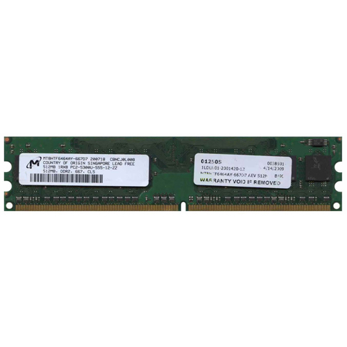 512MB 240p PC2-5300 CL5 8c 64x8 DDR2-667 DIMM T007 RFB