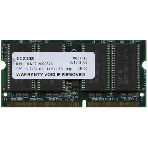 Simple tech CIS-15-7452-01 512MB 144p PC100 CL2 16c 32x8 SDRAM SODIMM RFB  U.S.A