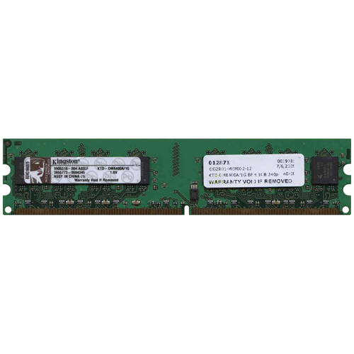 Kingston KTD-DM8400A/1G BMI 1GB 240p PC2-4200 CL4 8c 128x8 DDR2-533 1Rx8 UDIMM VLP RFB