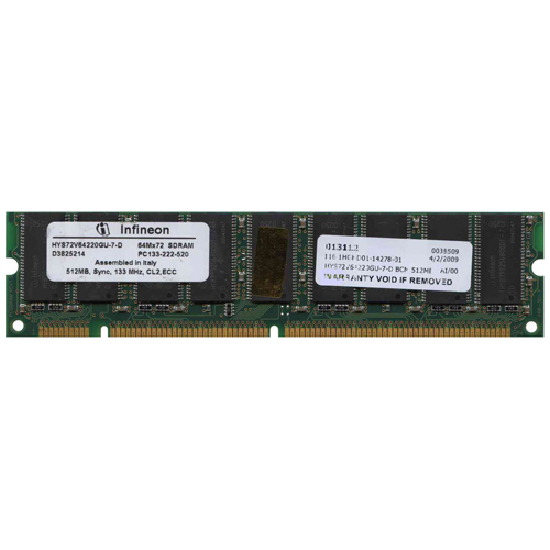 Infineon HYS72V64220GU-7-D BCM 512MB 168p PC133 CL2 18c 32x8 ECC SDRAM DIMM-RFB Italy