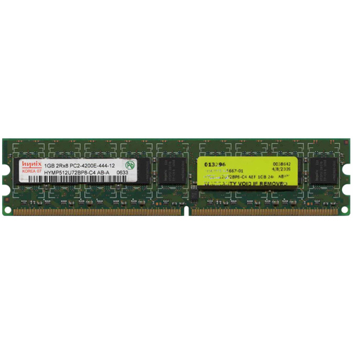 Hynix HYMP512U72BP8-C4 1GB 240p PC2-4200 CL4 18c 64x8 DDR2-533 2Rx8 1.8V ECC DIMM w/ 3rd Party Label
