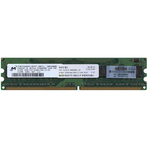 512MB 240p PC2-5300 CL5 8c 64x8 DDR2-667 DIMM T007-NOB Singapore RoHs HP Part# 377725-888