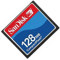 SanDisk SDCFJ-128 CAV 128MB CompactFlash Card Sandisk Shoot and Store Clam w/o SN