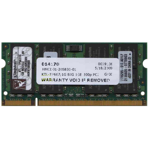 Kingston KTL-TP667/1G 1GB 200p PC2-5300 CL5 16c 64x8 DDR2-667 2Rx8 1.8V SODIMM RFB