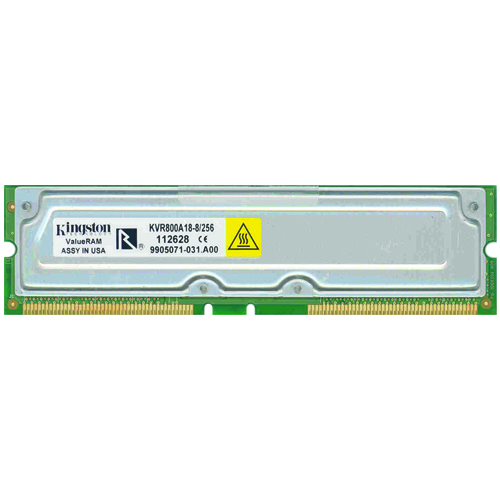 Kingston KVR800A18-8/256 ADR 256MB 184p PC800-40 8d ECC RDRAM RIMM T003 RFB Korea