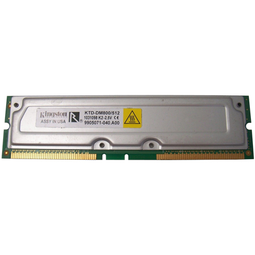 Kingston KTD-DM800AE/512 2ADR 256MBx2 184p PC800-40 8d ECC RDRAM RIMM T003 RFB Korea
