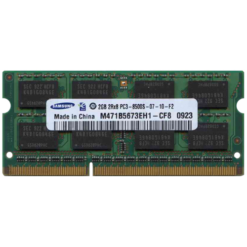 Samsung M471B5673EH1-CF8-N 2GB 204p PC3-8500 CL7 16c 128x8 DDR3-1066 2Rx8 1.5V SODIMM No OEM Label