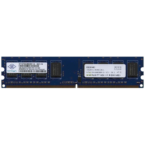 Nanya NT1GT64U88D0BY-3C 1GB 240p PC2-5300 CL5 8c 128x8 DDR2-667 1Rx8 1.8V UDIMM RFB
