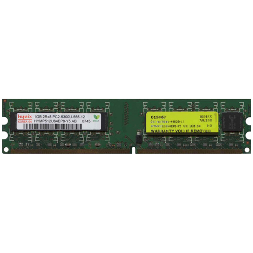 Hynix HYMP512U64EP8-Y5 1GB 240p PC2-5300 CL5 16c 64x8 DDR2-667 2Rx8 1.8V UDIMM RFB W/Mix label
