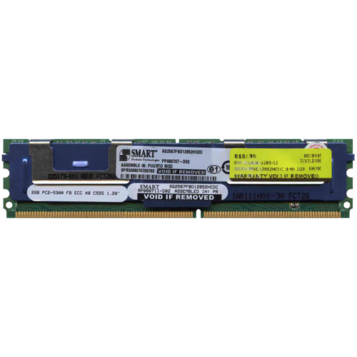 Smart SG2567FBD12852HCDC 2GB 240p PC2-5300 CL5 18c 128x8 DDR2-667 2Rx8 1.8V ECC FBDIMM RFB