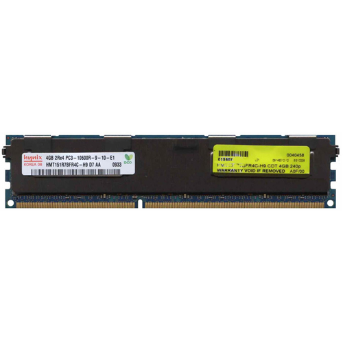 Hynix HMT151R7BFR4C-H9D7 4GB 240p PC3-10600 CL9 36c 256x4 DDR3-1333 2Rx4 1.5V ECC RDIMM W/Mix label