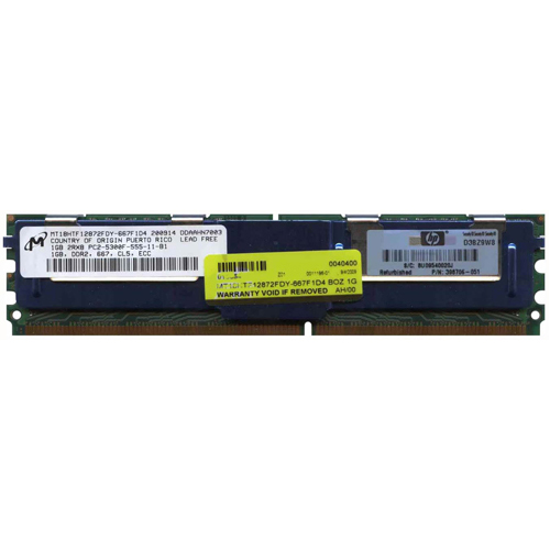 1GB 240p PC2-5300 CL5 18c 64x8 Fully Buffered ECC DDR2-667 2Rx8 FBDIMM NOB HP P/N: 398706-051