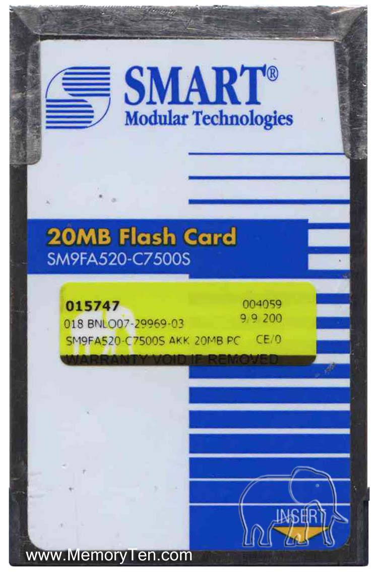 Smart SM9FA520-C7500S AKK 20MB PCMCIA Linear Series 2+ Flash Card Bulk