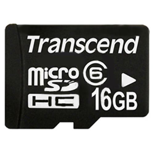 Transcend TS16GUSDHC6 16GB 8p MSDHC Class 6 Micro Secure Digital High Capacity Card w/ Adapter Retai