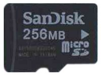 SanDisk SDSDQ-256 256MB  8p MSD Micro Secure Digital Card w/o Adapter Bulk