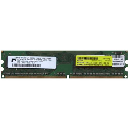 Micron MT8HTF12864AY-53EG1 BMI 1GB 240p PC2-4200 CL4 8c 128x8 DDR2-533 1Rx8 UDIMM RFB
