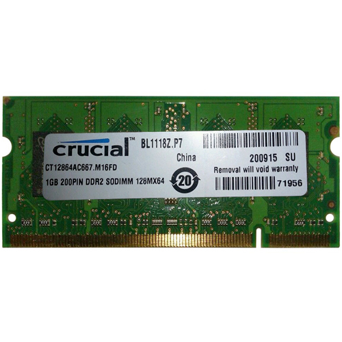 CRUCIAL CT12864AC667.M16FD 1GB 200p PC2-5300 CL5 16c 64x8 DDR2-667 2Rx8 SODIMM