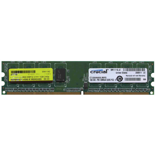 Crucial CT12864AA800.M8 CHH 1GB 240p PC2-6400 CL6 8c 128x8 DDR2-800 1Rx8 1.8V UDIMM