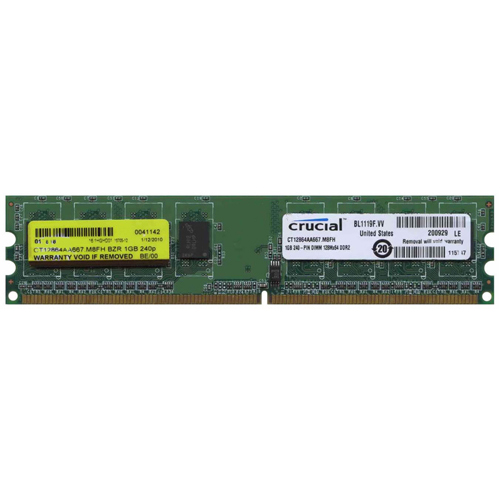Crucial CT12864AA667.M8F BZR 1GB 240p PC2-5300 CL5 8c 128x8 DDR2-667 DIMM RFB