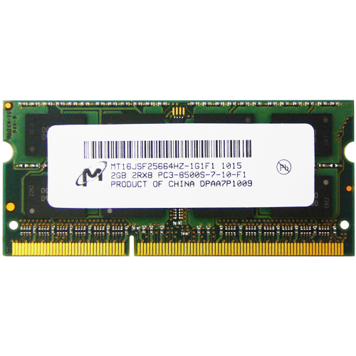 Micron MT16JSF25664HZ-1G1F1 2GB 204p PC3-8500 CL7 16c 128x8 DDR3-1066 2Rx8 1.5V SODIMM