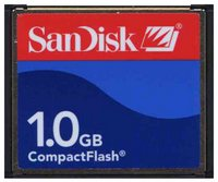 SanDisk SDCFB-1024 CBE 1GB 50p CF Red/Light Blue/Blue Label Sandisk CompactFlash Card w/ SN RFB